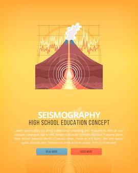 教育と科学の概念図。地球と惑星の構造の地震学サイエンス。大気圏現象の知識。バナー。