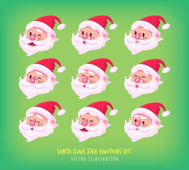 サンタクロースの顔感情アイコンのセットかわいい漫画の顔コレクションメリークリスマスイラスト。