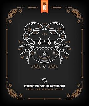 Урожай тонкая линия рак знак зодиака. ретро астрологический символ, мистик, элемент сакральной геометрии, эмблема, логотип. инсульт наброски иллюстрации.