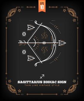 ヴィンテージ細い線射手座星座記号ラベル。レトロな占星術のシンボル、神秘的な神聖な幾何学要素、エンブレム、ロゴ。ストロークの概要図。