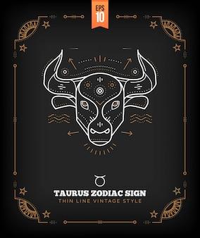 Урожай тонкая линия телец знак зодиака. ретро астрологический символ, мистик, элемент сакральной геометрии, эмблема, логотип. инсульт наброски иллюстрации.