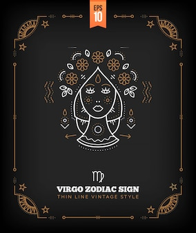 Урожай тонкая линия дева знак зодиака этикетка. ретро астрологический символ, мистик, элемент сакральной геометрии, эмблема, логотип. инсульт наброски иллюстрации.