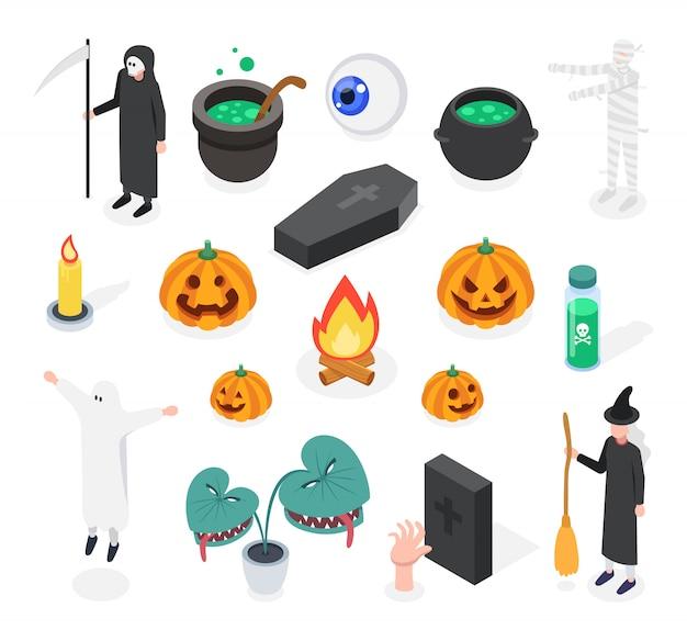 Изометрические хэллоуин набор изолированных