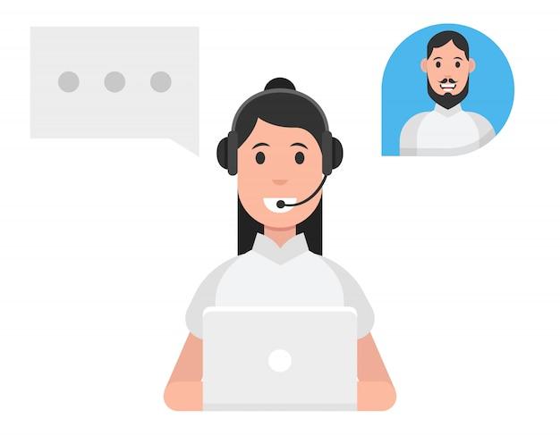 コールセンターサービスのコンセプト。ヘッドセットを着ている女性