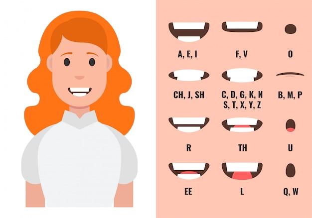 女性の口のアニメーション