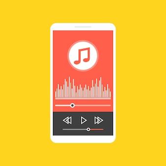 Смартфон с приложением музыкального плеера на экране