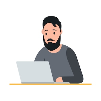 Внештатная концепция. человек работает на ноутбуке