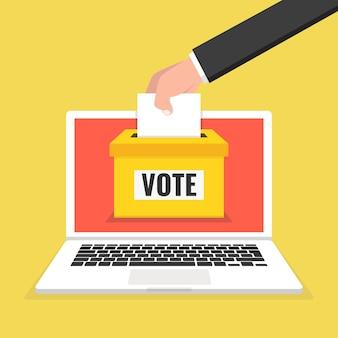 Концепция голосования. рука кладет бумагу в урну