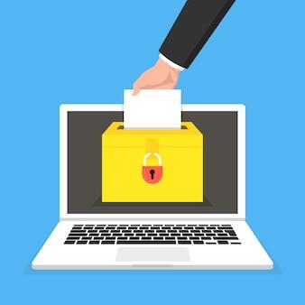 投票オンラインコンセプト。ノートパソコンの画面上の投票箱
