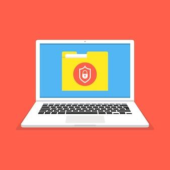 画面上のファイル保護を備えたラップトップ