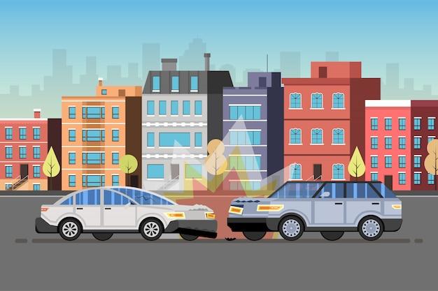 自動車事故。市のダウンタウンの風景