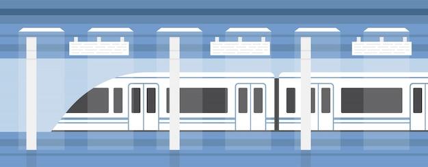 地下鉄、近代的な電車のある地下プラットフォーム