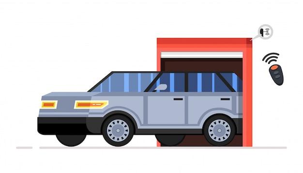 Въезд автомобиля в здание с транспортным средством