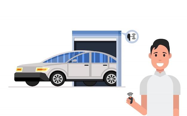ガレージドアシステム。幸せな男はリモートを保持します
