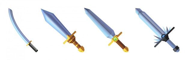Набор иконок меч игры мультфильм