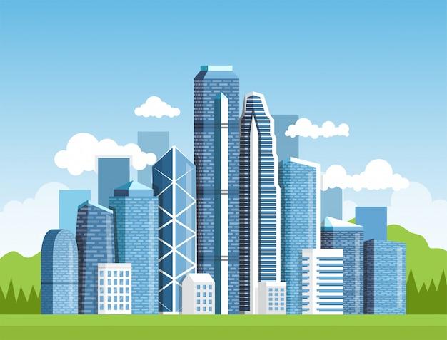 Городской пейзаж с высокими небоскребами