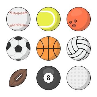 Спортивные мячи векторный набор