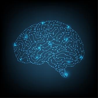 内部の人工サイバネティック回路脳