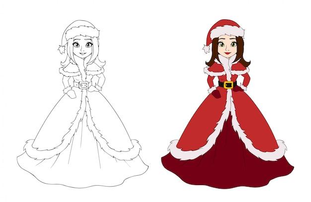 Милая зимняя принцесса в платье санта-клауса.