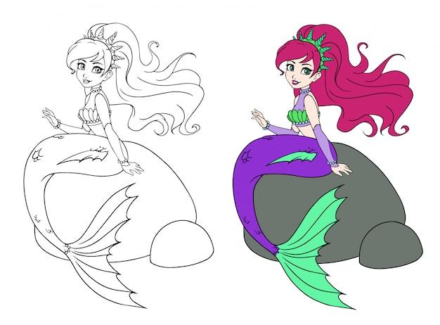 Милая русалка сидит на скале. рисованной каракули. можно использовать для детей мобильные игры, раскраски, наклейки, открытки, татуировки, дизайн футболок.