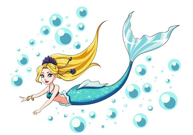 Милый дизайн русалки плавания. мультфильм девушка со светлыми волосами и синий рыбий хвост. изолированные на белом фоне и пузыри.