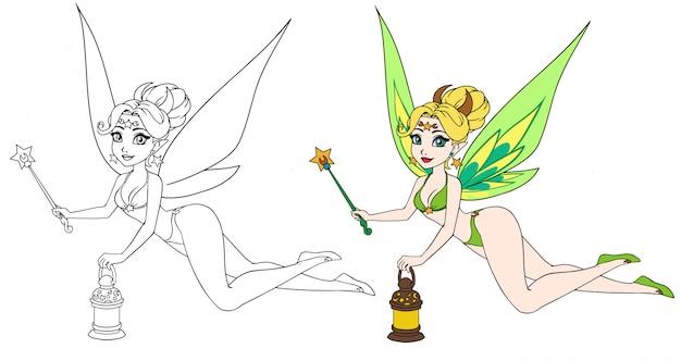 Милая фея шаржа держа фонарик и волшебную палочку. контур рисованной иллюстрации для детей мобильных игр, раскраски, шаблон дизайна футболки и т. д.
