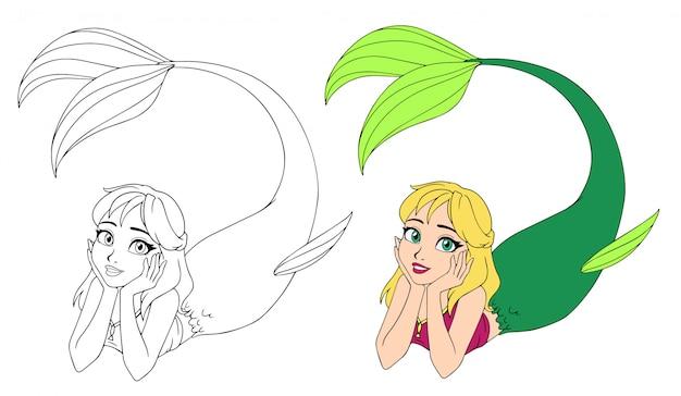Довольно мультфильм лежащая русалка. светлые волосы и зеленый рыбий хвост.