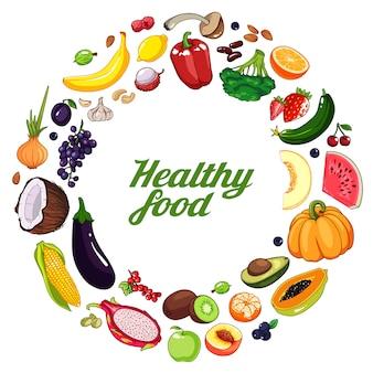 手描きの果物や野菜の背景