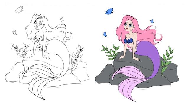 Милая русалка с розовыми волосами и фиолетовым хвостом сидит на камне.