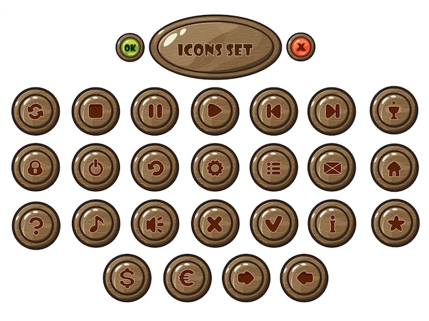 モバイルゲームラウンド木製ボタンセット