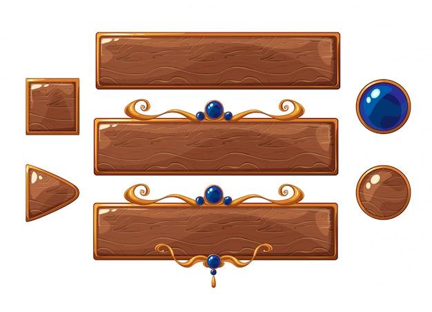 Мультфильм вектор название деревянные баннеры набор. бронзовые рамы с голубыми камнями.