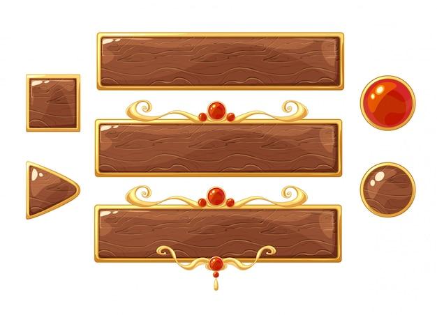 Мультфильм вектор название деревянные баннеры набор. золотые рамки с красными драгоценными камнями.