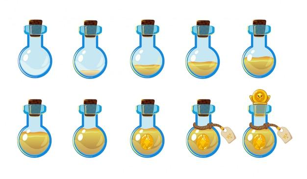 黄色のエリキシルと黄金の頭蓋骨コインのボトルのさまざまな状態のセット。