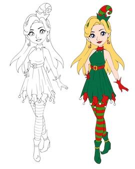Мультяшный девушка носить рождественский эльф костюм.