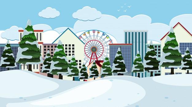 冬の都市の風景の背景