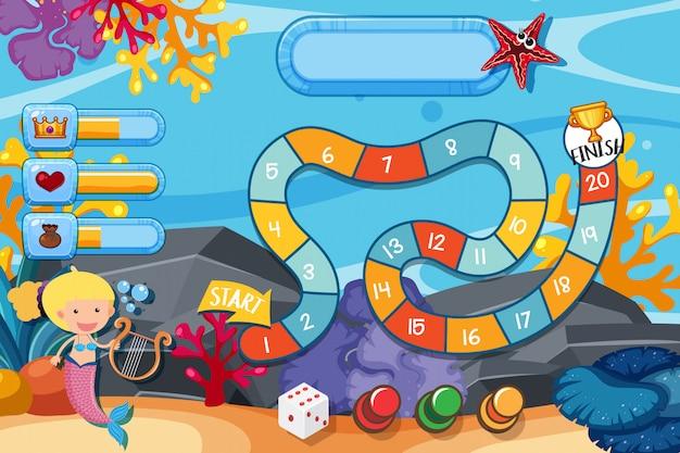 下の人魚と水中のサンゴのゲームテンプレート