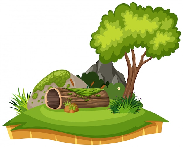 ログと公園の木の自然風景