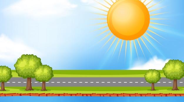 空の道の上の太陽と風景の背景