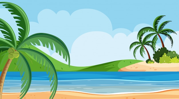 海の後ろの丘と風景の背景