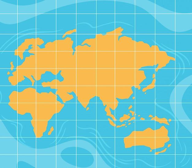 グリッド紙に黄色の世界地図
