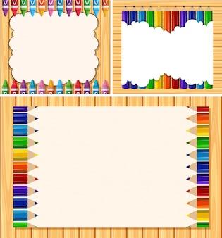 Три пограничных шаблона с цветными карандашами