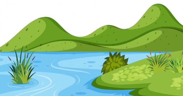 Пейзаж с зеленой горой и рекой