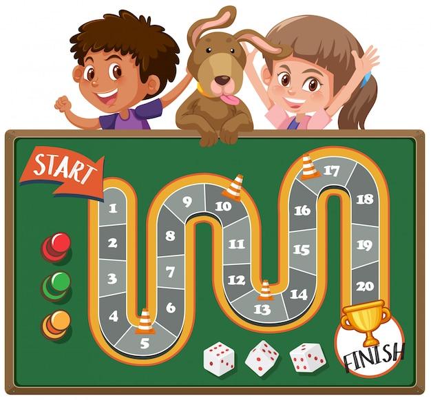 子供と犬とのボードゲーム