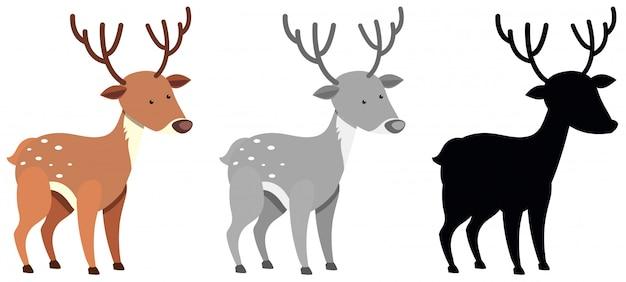 色とシルエットの鹿のセット