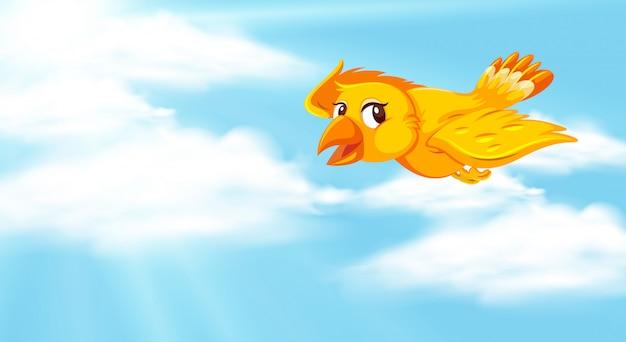 青い空と黄色の鳥の背景シーン