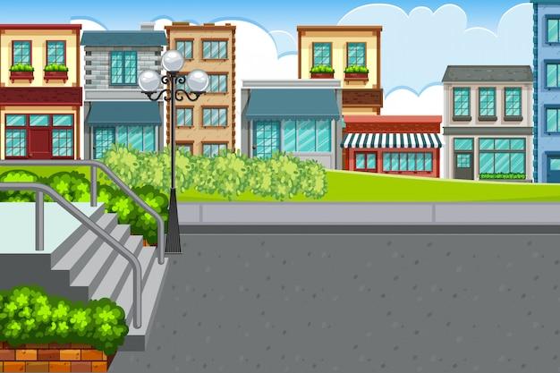 Уличная сцена с городом