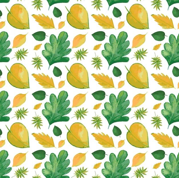 黄色の葉でシームレスなパターン