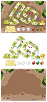 庭のある蛇と梯子のゲームセット