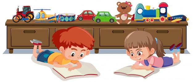 Двое детей читают книгу в детской комнате