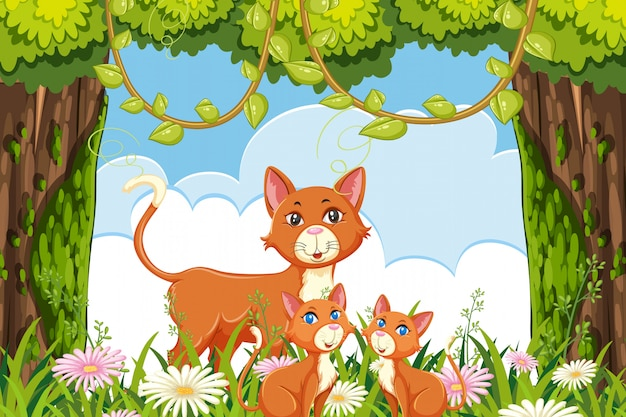 Кошка и котенок в лесу сцены